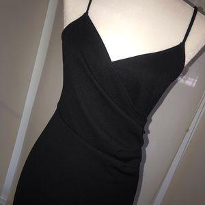 LBD. Black dress w/ spaghetti straps & ruching